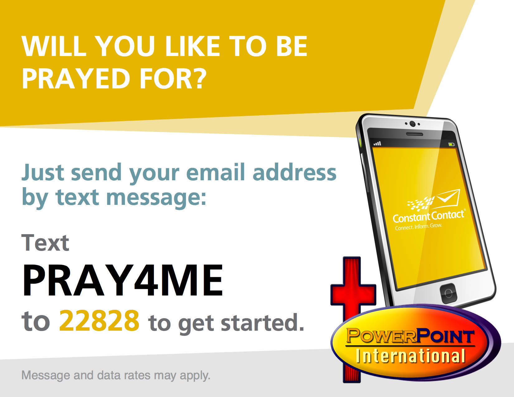 "PLEASE TEXT ""PRAY4ME"" TO 22828 TO GET ON OUR PRAYER LIST ..."